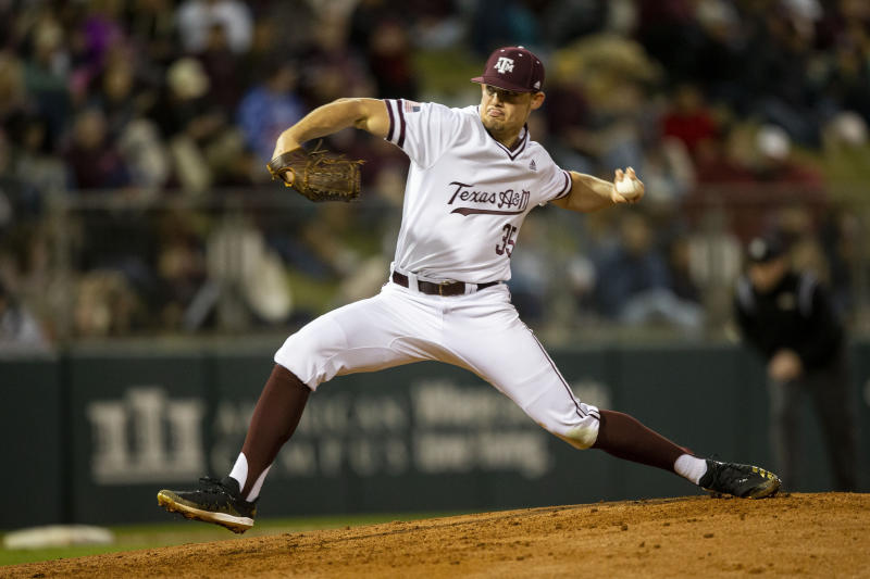 FILE - In this Feb. 14, 2020, file photo, Texas A&M's Asa Lacy (35) throws a strike against a Miami (Ohio) batter during an NCAA baseball game in College Station, Texas. Detroit has a chance to add another potential standout when it makes the No. 1 selection in Wednesday night's draft. Lacy is a possible top pick in the Major League Baseball draft. (AP Photo/Sam Craft, File)