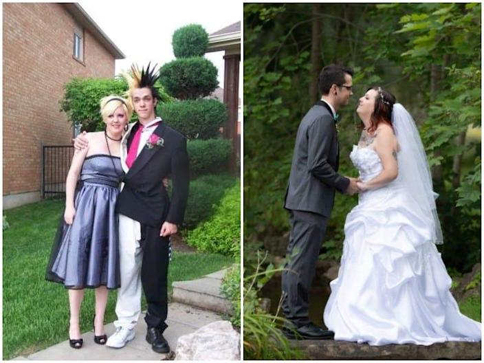 Prom wedding then and now