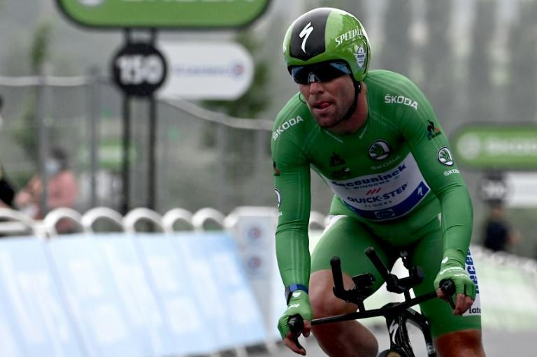 Mark Cavendish in the sprinter's green jersey at the Tour de France