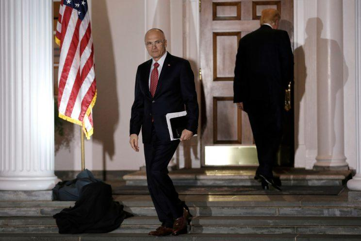 Puzder departs after a meeting with Trump at the Trump National Golf Club in Bedminster, N.J., Nov. 19, 2016. (Mike Segar/Reuters)