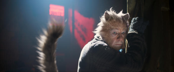 """This image released by Universal Pictures shows Ian McKellen as Gus the Theatre Cat in a scene from """"Cats."""" (Universal Pictures via AP)"""