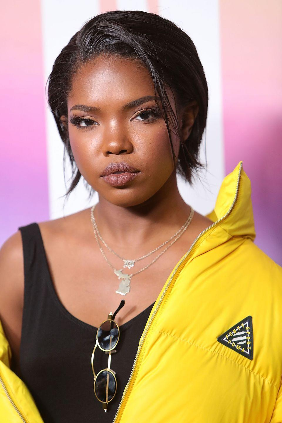 <p>Ryan Destiny goes for a structured yet wispy cut with this textured bob. Keep the feel of your hair effortless by tucking the sides and letting a a piece or two fall free towards the front. </p>
