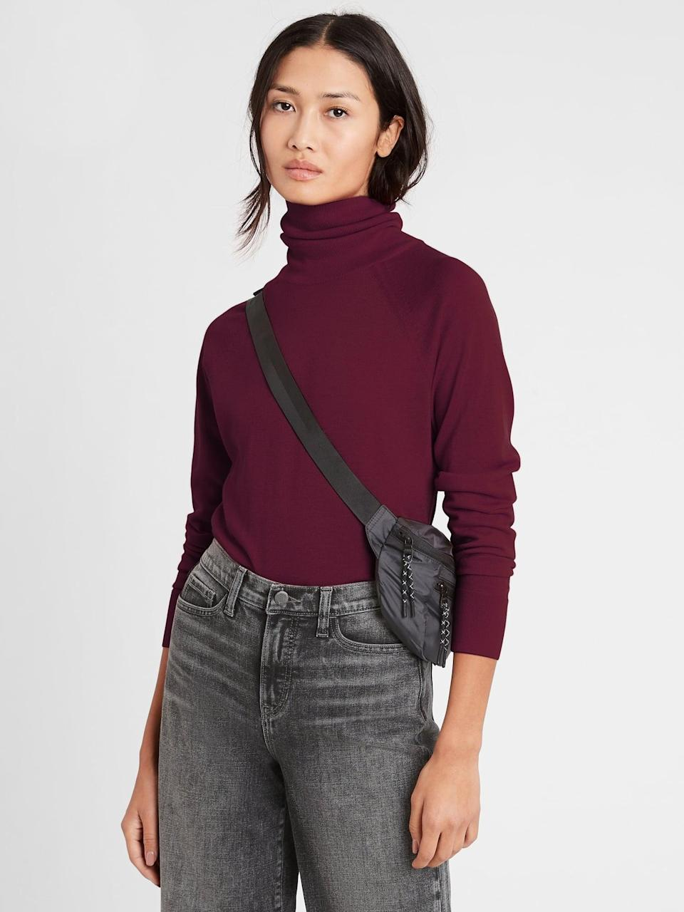 <p>Find an even steeper discount on the <span>Banana Republic Merino Turtleneck Sweater in Responsible Wool in Red Wine</span> ($55, originally $80).</p>