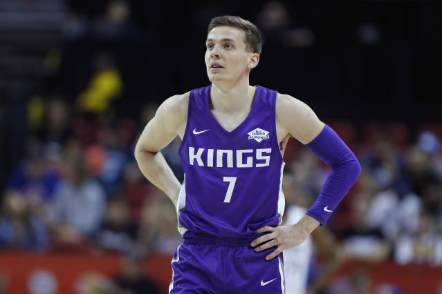 Kings rookie Kyle Guy's grandpa died due to the coronavirus on Friday night. (Michael Reaves/Getty Images)