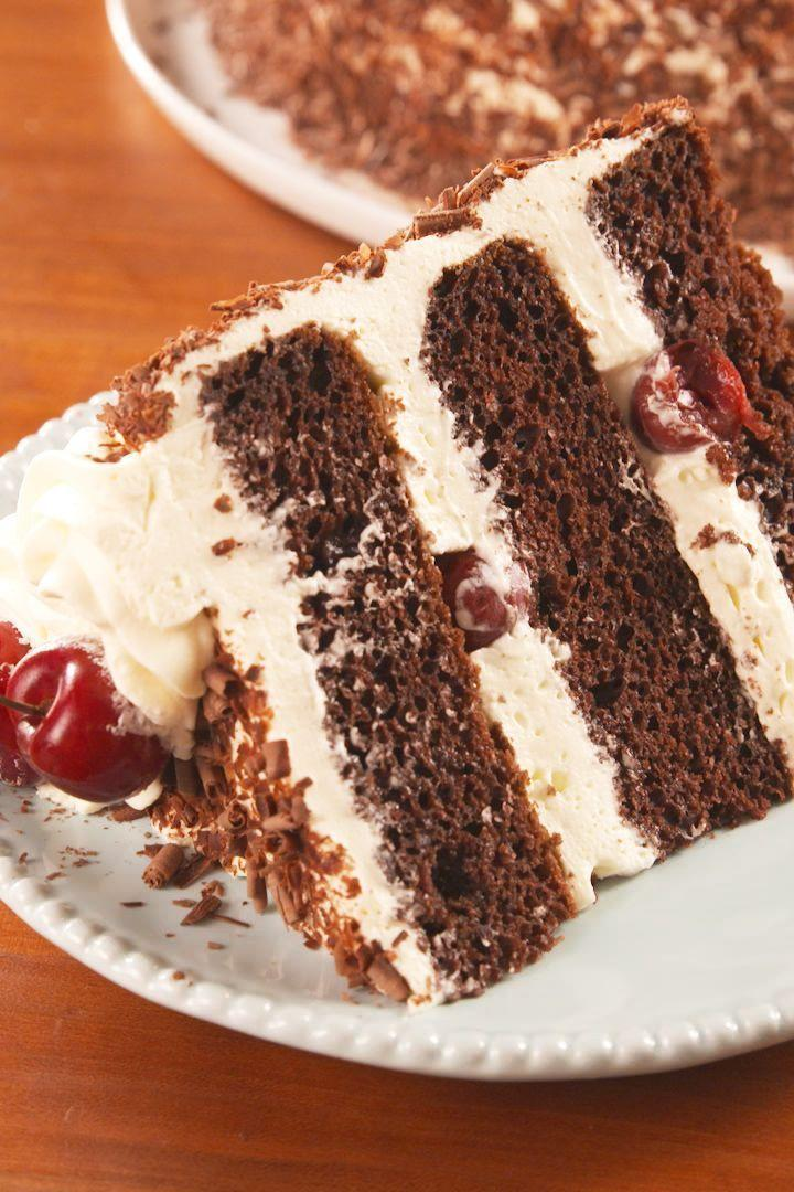 """<p>Black forest cake can seem super-intimidating to make—you need to bake cake layers, make a sour cherry syrup, and whip a frosting? But we promise you that in terms of this particular retro dessert, our recipe is as easy as it gets.</p><p>Get the <a href=""""https://www.delish.com/uk/cooking/recipes/a29681965/easy-black-forest-cake-recipe/"""" rel=""""nofollow noopener"""" target=""""_blank"""" data-ylk=""""slk:Black Forest Cake"""" class=""""link rapid-noclick-resp"""">Black Forest Cake</a> recipe.</p>"""