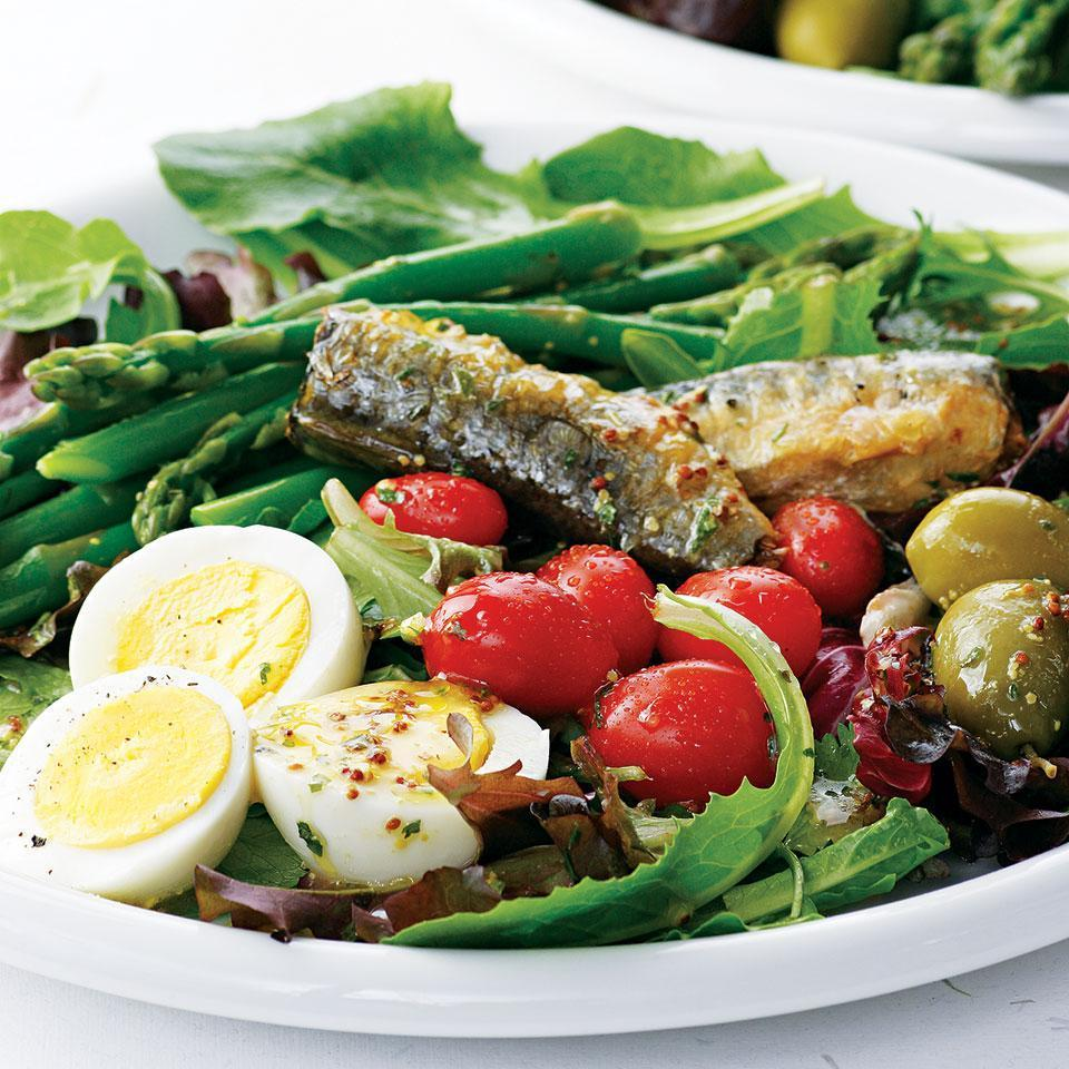 <p>A bold, layered salad that showcases sardines and asparagus, this beautiful dish adds variety to your weekday dining. If you prefer tuna to sardines or have fish from the night before, go ahead and use that instead.</p>