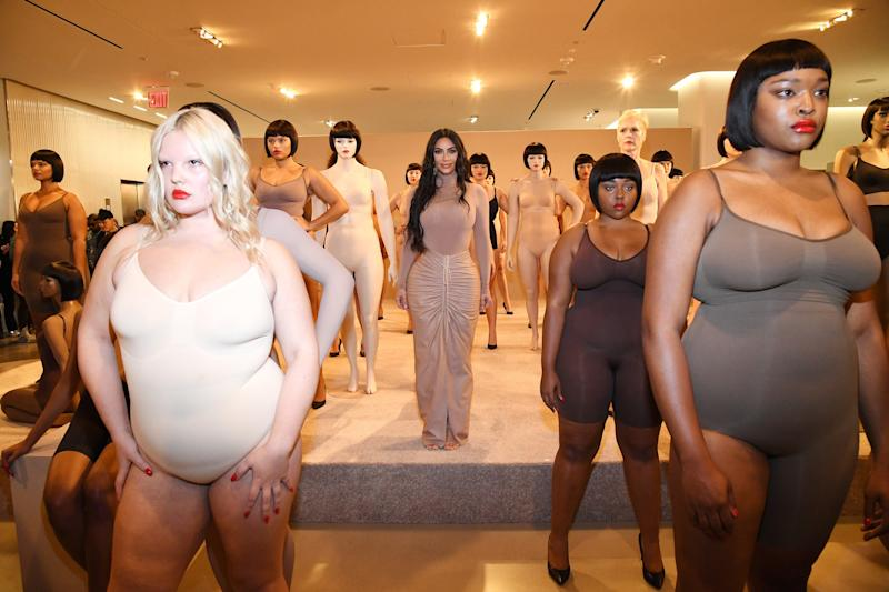 Kardashian West stands alongside models at the Skims launch event at the Nordstrom flagship store in NYC.
