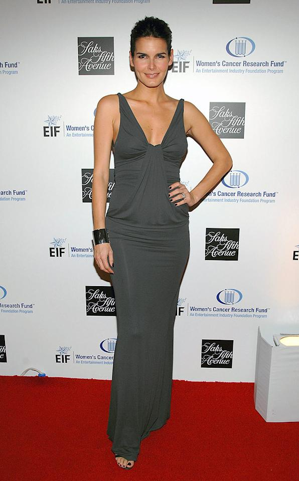 "Angie Harmon shows off her fit and fab frame in a casual gray jersey dress. John Shearer/<a href=""http://www.wireimage.com"" target=""new"">WireImage.com</a> - February 10, 2009"