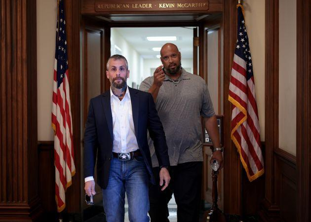 Metropolitan Police Officer Michael Fanone and U.S. Capitol Police Officer Harry Dunn at the U.S. Capitol on June 25, 2021, after meeting with House Republican leader Kevin McCarthy. (Photo: Win McNamee via Getty Images)