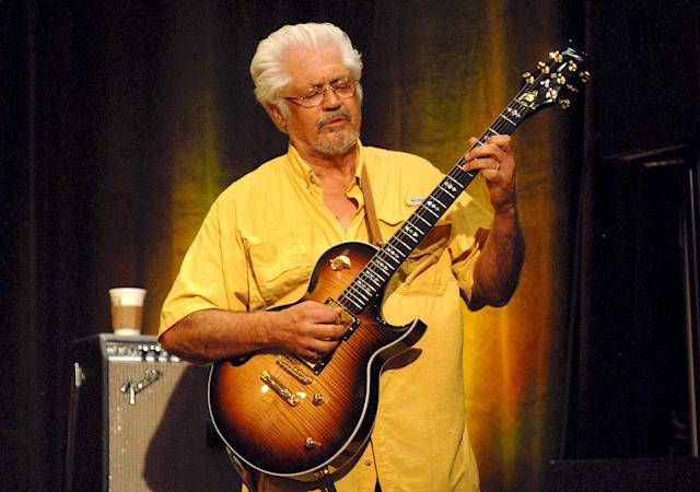 "<p>Larry Coryell was a pioneering jazz guitarist known as the ""Godfather of Fusion."" He died Feb. 19 of heart failure at the age of 73.<br> (Photo: Paul Warner/Getty Images) </p>"