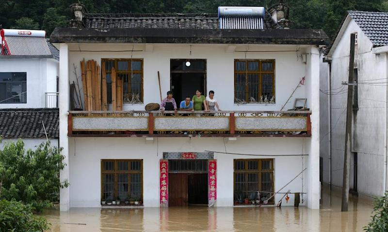 Authorities have dispatched boats and kayaks to evacuate trapped residents in Huangshan, Anhui province
