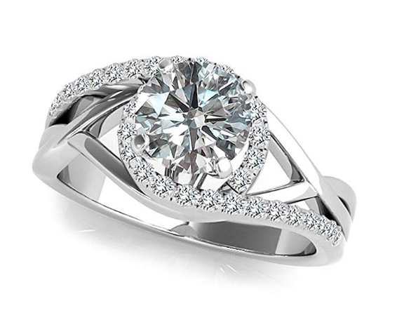 1 Carat G-H Diamond Beautiful Crossover By Pass Solitaire Vintage Ring Band 14K White Gold. Image via Amazon.
