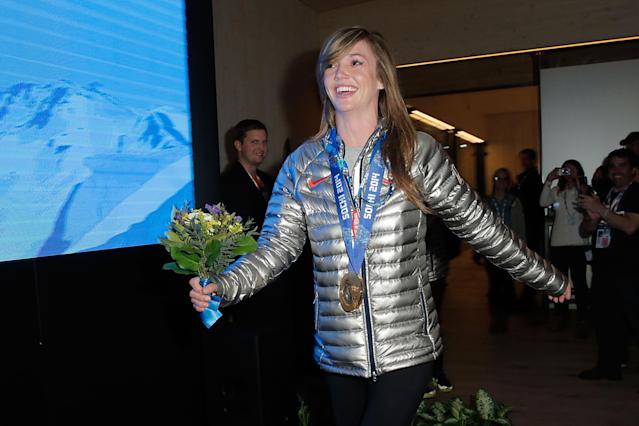 SOCHI, RUSSIA - FEBRUARY 13: U.S. Olympian Kaitlyn Farrington visits the USA House in the Olympic Village on February 13, 2014 in Sochi, Russia. (Photo by Joe Scarnici/Getty Images for USOC)