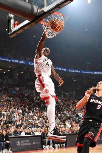 TORONTO, CANADA - APRIL 7: Pascal Siakam #43 of the Toronto Raptors dunks the ball during the game against the Miami Heat on April 7, 2019 at the Scotiabank Arena in Toronto, Ontario, Canada. (Photo by Ron Turenne/NBAE via Getty Images)