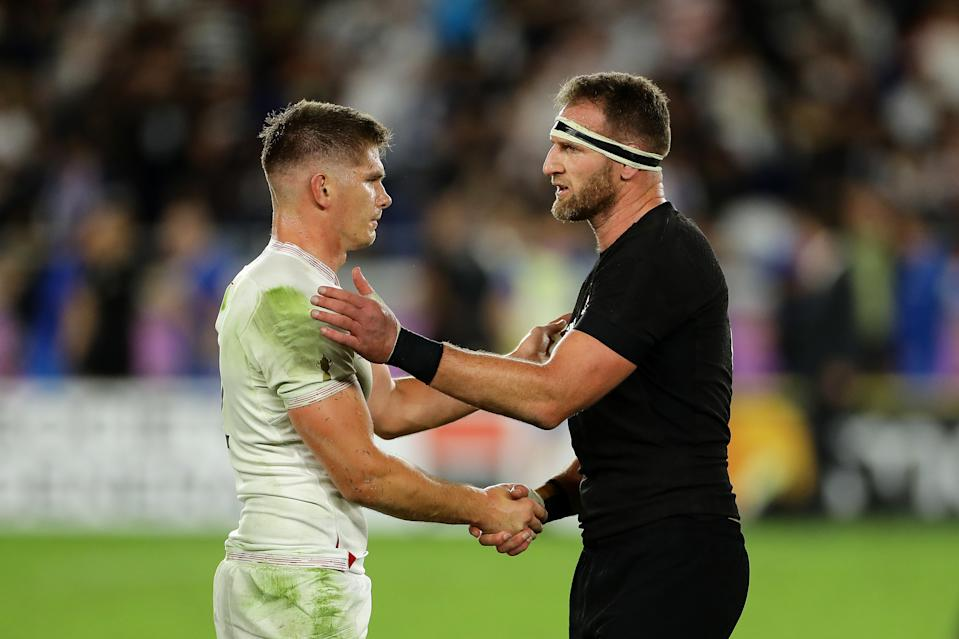 YOKOHAMA, JAPAN - OCTOBER 26: Captain's Owen Farrell of England and Kieran Read of New Zealand shake hands after the final whistle during the Rugby World Cup 2019 Semi-Final match between England and New Zealand at International Stadium Yokohama on October 26, 2019 in Yokohama, Kanagawa, Japan. (Photo by Richard Heathcote - World Rugby/World Rugby via Getty Images)