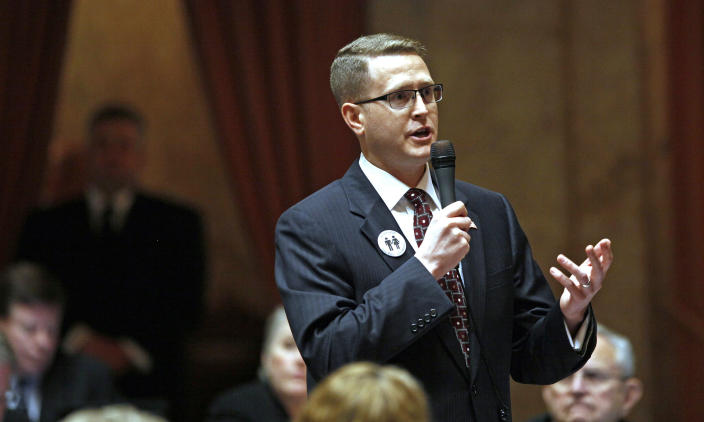 FILE - In this Feb. 8, 2012 file photo, state Rep. Matt Shea, R-Spokane Valley, speaks at the Capitol in Olympia, Wash. Shea faces a legislative investigation and calls for his resignation following media reports he was in a chat group discussing surveillance on progressives. (AP Photo/Elaine Thompson, File)