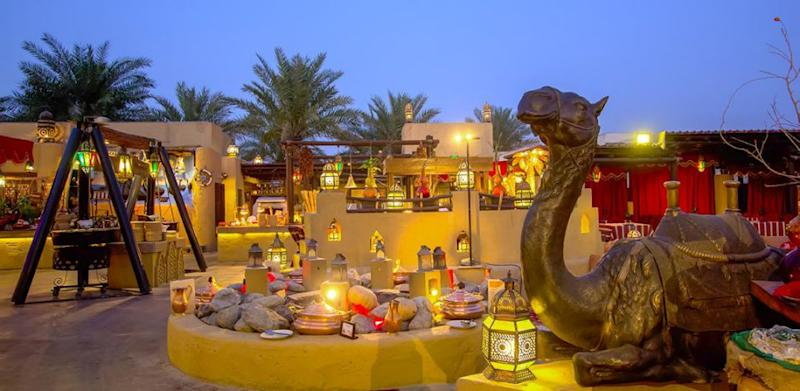 The Al Hadheerah restaurant is where food comes to life through music, dance and performance. Credit: Bab Al Shams Hotel
