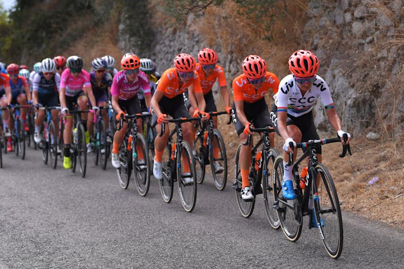 CCC-Liv control the front of the peloton during stage 6 at the Giro Rosa