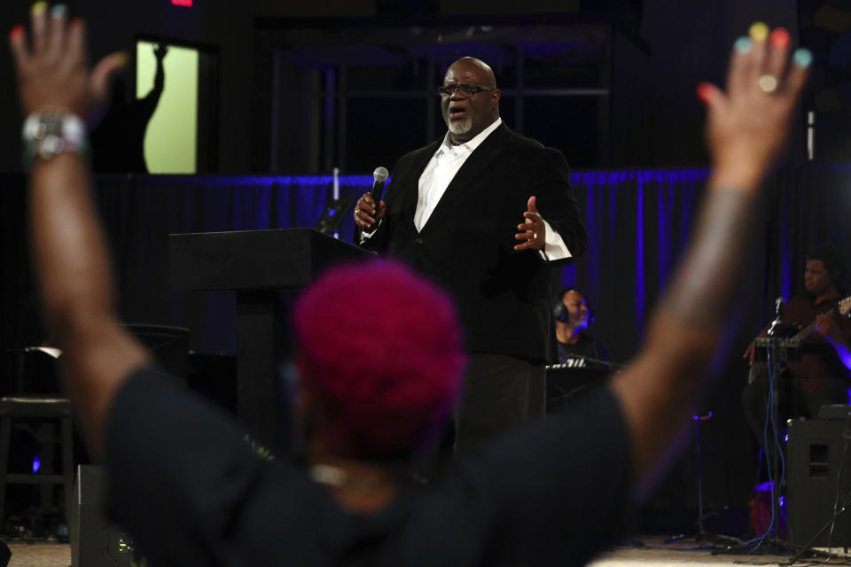 """Dwight McKissic, pastor of Cornerstone Baptist Church, speaks during services in Arlington, Texas, on Sunday, June 6, 2021. In December 2020, McKissic was one of the co-signers of a statement by a multiethnic group of Southern Baptists asserting that systemic racial injustice is a reality. """"Some recent events have left many brothers and sisters of color feeling betrayed and wondering if the SBC is committed to racial reconciliation,"""" the statement said. (AP Photo/Richard W. Rodriguez)"""