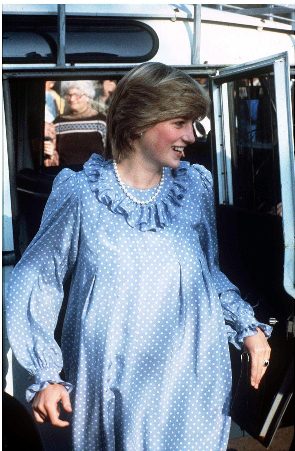 <p>Princess Diana is pictured here seven months pregnant. During this period, she donned a feathered hairstyle.<br><em>[Photo: PA]</em> </p>