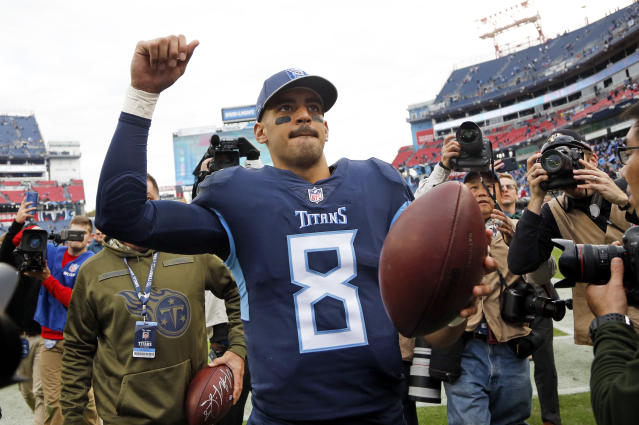 Marcus Mariota is coming off his second straight multi-touchdown game, and he has an appealing matchup ahead in Week 11. (AP Photo/James Kenney)