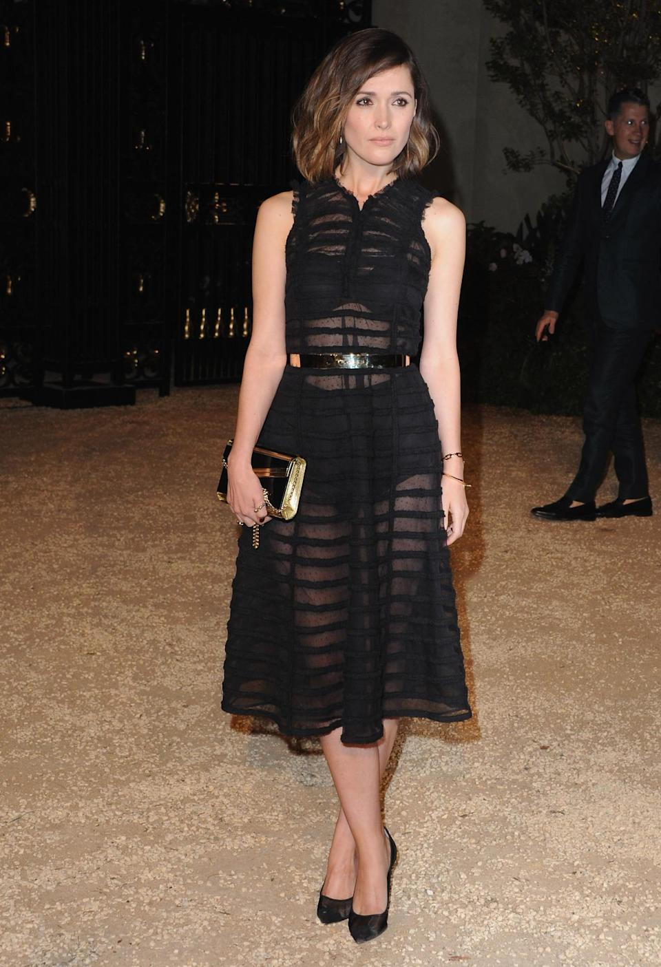 Another star to go sheer, Rose Byrne covered up her grannie panties with a striped midi dress.