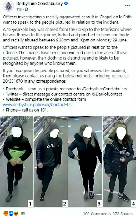 Police issued CCTV images of the suspects on a Facebook appeal. (SWNS)