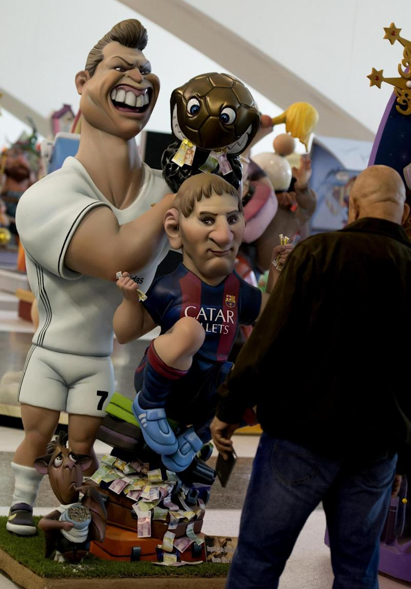 These two 'ninots' depicting Ronaldo and Messi proved particularly popular (Getty)
