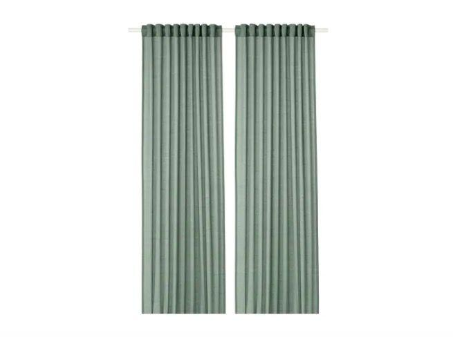 "<p><a class=""body-btn-link"" href=""https://www.ikea.com/gb/en/products/textiles-rugs/curtains-blinds/hilja-curtains-1-pair-grey-green-art-00425013/"" target=""_blank"">BUY NOW</a></p><p>Made from recycled PET bottles, these curtains are green in more ways than one.</p><p>'Made from recycled PET bottles, this collection reduces the consumption of new raw materials, whilst welcoming soft textures and colours into your home,' says Hege.</p>"