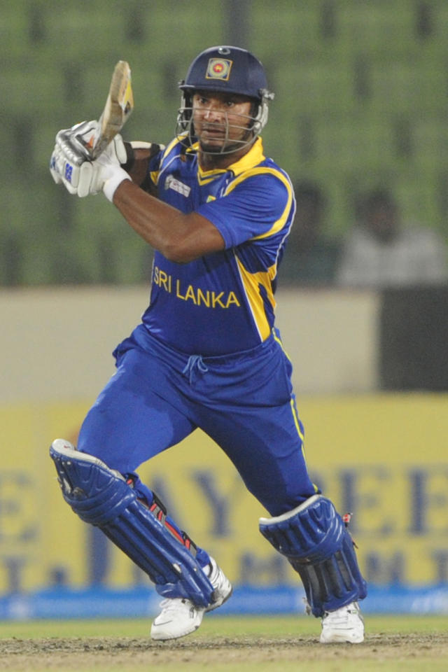 Sri Lankan cricketer Kumar Sangakkara plays a shot during the one day international (ODI) Asia Cup cricket match between India and Sri Lanka at The Sher-e-Bangla National Cricket Stadium in Dhaka on March 13, 2012.