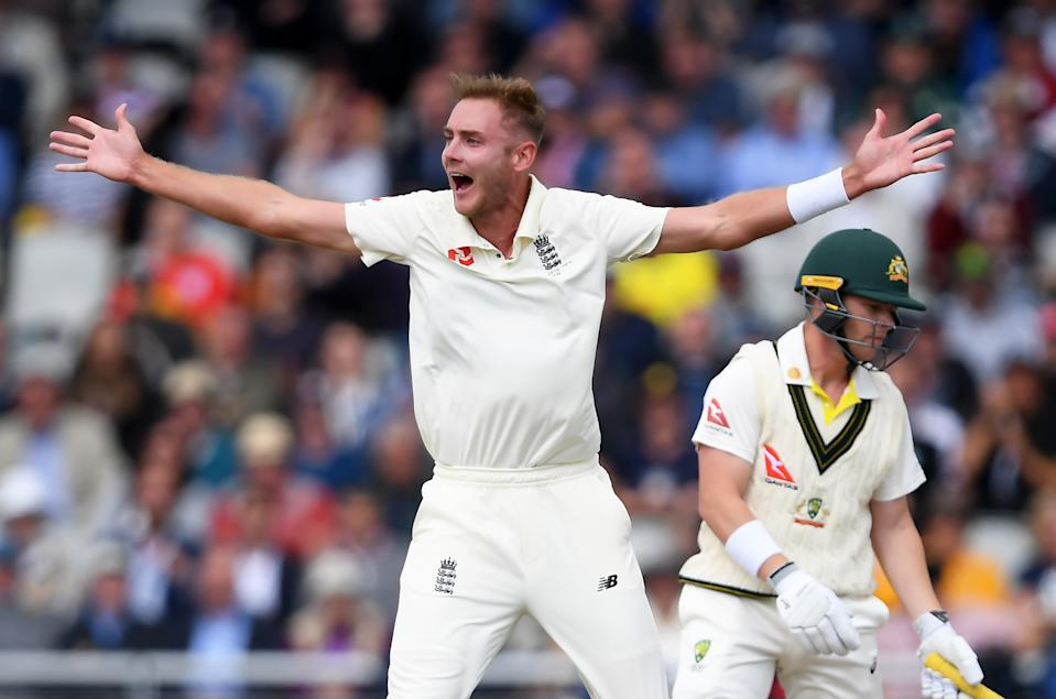 MANCHESTER, ENGLAND - SEPTEMBER 04:  Stuart Broad of England appeals successfully for the wicket of Marcus Harris of Australia during Day One of the 4th Specsavers Ashes Test between England and Australia at Old Trafford on September 04, 2019 in Manchester, England. (Photo by Alex Davidson/Getty Images)