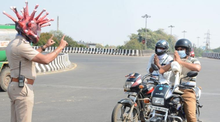 This Chennai cop's Corona Helmet is quite scary, but helps in ...