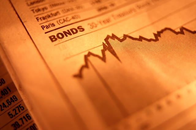 A5F8BB Bond investment performance charts in financial newspaper financial; chart; bonds; investing; invest; performance; bonds;