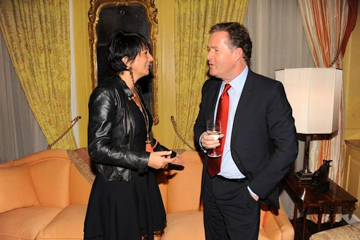 """<div class=""""inline-image__caption""""> <p>Ghislaine Maxwell and Piers Morgan attend Breakfast with Lucien by Geordie Greig at Private Residence on October 21, 2013 in New York City.</p> </div> <div class=""""inline-image__credit""""> Paul Bruinooge/Patrick McMullan via Getty </div>"""