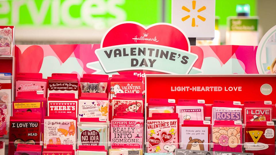 Las Vegas, NV, USA 2/4/2020 — Hallmark and other Valentine's Day greeting cards at a local Walmart Neighborhood Store.
