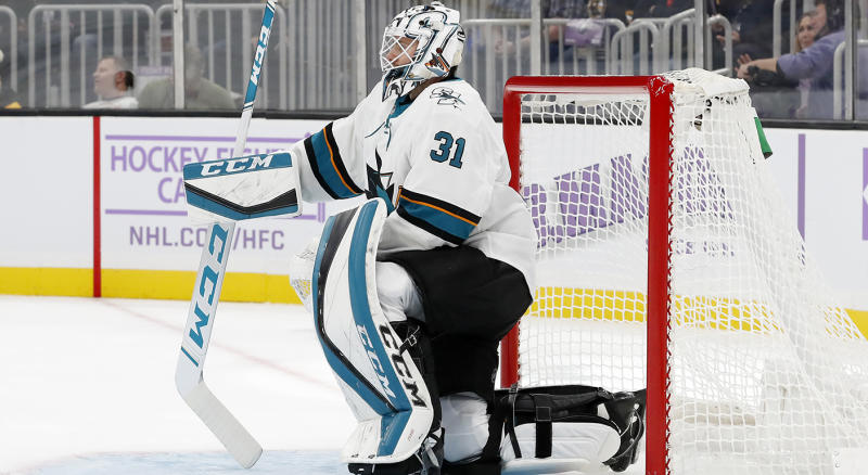 BOSTON, MA - OCTOBER 29: San Jose Sharks goalie Martin Jones (31) takes a breather in goal during a game between the Boston Bruins and the San Jose Sharks on October 29, 2019, at TD Garden in Boston, Massachusetts. (Photo by Fred Kfoury III/Icon Sportswire via Getty Images)