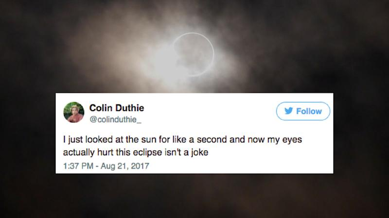 People All Over Are Saying Their Eyes Hurt From The Solar Eclipse