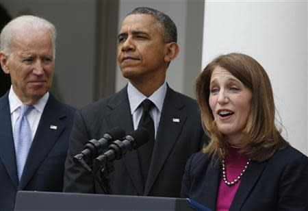 U.S. President Obama announces Director of the Office of Management and Budget Burwell as his nominee to replace outgoing Health Secretary Sebelius, during a ceremony in the Rose Garden of the White House