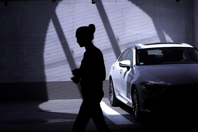 A Mercedes-Benz CLS 350d automobile, manufactured by Daimler AG, sits in an underground parking lot during during an automated parking demonstration at the Mercedes-Benz TecDay event in Stuttgart, Germany, on Monday, May 28, 2018. Mercedes, the worlds best-selling luxury-car brand, last month posted its best quarterly sales ever, with deliveries of the GLC crossover increasing 33 percent and the revised flagship S-Class posting a 29 percent gain. Photographer: Krisztian Bocsi/Bloomberg