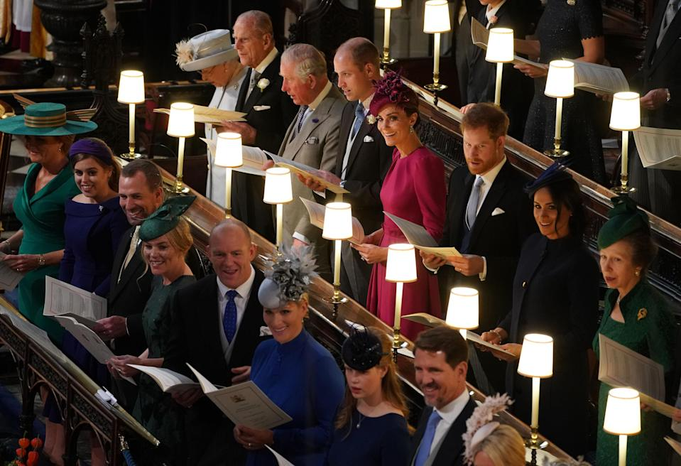 Philip sat directly behind Fergie in the chapel at Eugenie's wedding [Photo: Getty]