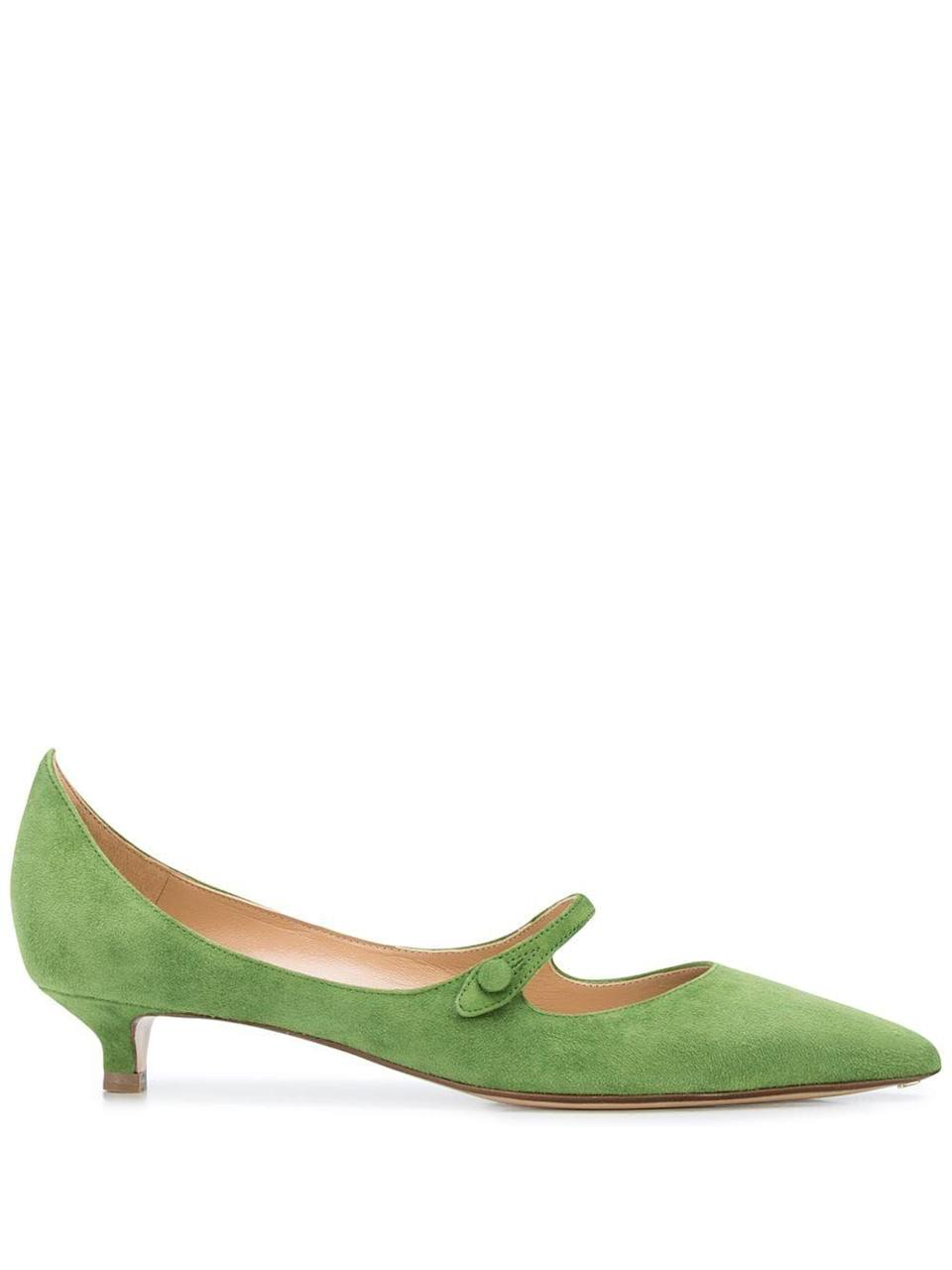 "<p><strong>Francesco Russo</strong></p><p>farfetch.com</p><p><strong>$476.00</strong></p><p><a href=""https://go.redirectingat.com?id=74968X1596630&url=https%3A%2F%2Fwww.farfetch.com%2Fshopping%2Fwomen%2Ffrancesco-russo-pointed-kitten-heel-pumps-item-14833847.aspx&sref=https%3A%2F%2Fwww.harpersbazaar.com%2Ffashion%2Ftrends%2Fg34980752%2F2021-shoe-trends%2F"" rel=""nofollow noopener"" target=""_blank"" data-ylk=""slk:Shop Now"" class=""link rapid-noclick-resp"">Shop Now</a></p><p>If you're looking to take Mary Janes out of their comfort zone, try this pump-meets-MJ style. Perfect for the office or date night, this sweet heel will have your friends green with envy.</p>"