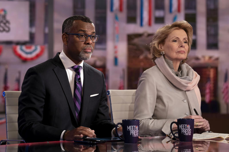 "Pictured: (l-r) Eddie Glaude, Jr., James S. McDonnell Distinguished University Professor, Princeton University and Peggy Noonan, Columnist, The Wall Street Journal appear on ""Meet the Press"" in Studio 6A at Rockefeller Center in New York, NY., Sunday, March 1, 2020 (Peter Kramer/NBC NewsWire/NBCU Photo Bank via Getty Images)"