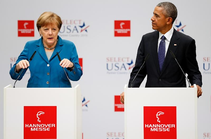 US President Barack Obama and German Chancellor Angela Merkel both endorsed the Transatlantic Trade and Investment Partnership negotiations between the EU and US (AFP Photo/Odd Andersen)