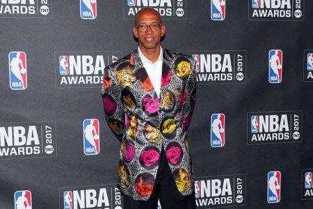 FILE PHOTO: Jun 26, 2017; New York, NY, USA; San Antonio Spurs player Monty Williams poses for photos with his Sager Strong award (the jacket is the award) during the 2017 NBA Awards at Basketball City at Pier 36. Mandatory Credit: Brad Penner-USA TODAY Sports -