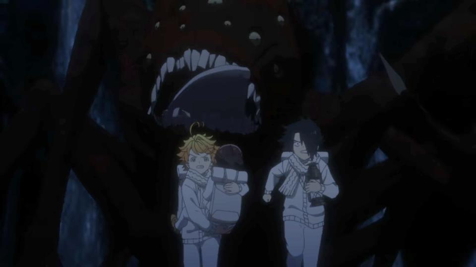 Emma, carrying one of the siblings, and Ray running away from a demon in The Promised Neverland Season 2. (Screenshot: Netflix)