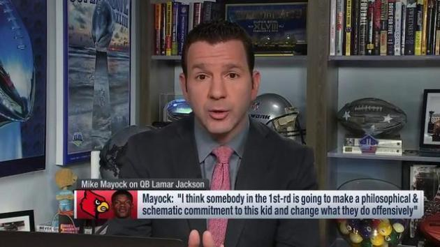 <p>NFL Network's Ian Rapoport: The 'interesting' team connected to quarterback Lamar Jackson is the Baltimore Ravens</p>