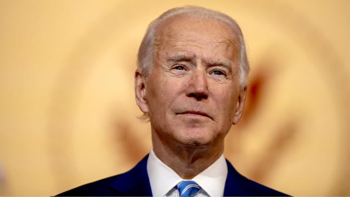 President-elect Joe Biden delivers a Thanksgiving address on Wednesday. (Mark Makela/Getty Images)