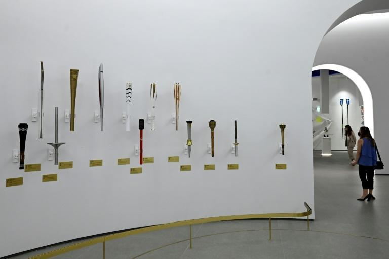 All the different designs of Olympic torches are on display starting from the first one used in Berlin, in 1936