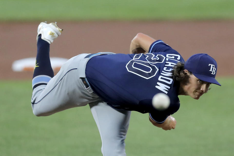 Tampa Bay Rays starting pitcher Tyler Glasnow throws a pitch to the Baltimore Orioles during the first inning of a baseball game, Saturday, Aug. 1, 2020, in Baltimore. (AP Photo/Julio Cortez)