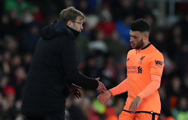 "Soccer Football - Premier League - Southampton vs Liverpool - St Mary's Stadium, Southampton, Britain - February 11, 2018 Liverpool's Alex Oxlade-Chamberlain shakes hands with manager Juergen Klopp as he is substituted off Action Images via Reuters/Peter Cziborra EDITORIAL USE ONLY. No use with unauthorized audio, video, data, fixture lists, club/league logos or ""live"" services. Online in-match use limited to 75 images, no video emulation. No use in betting, games or single club/league/player publications. Please contact your account representative for further details."